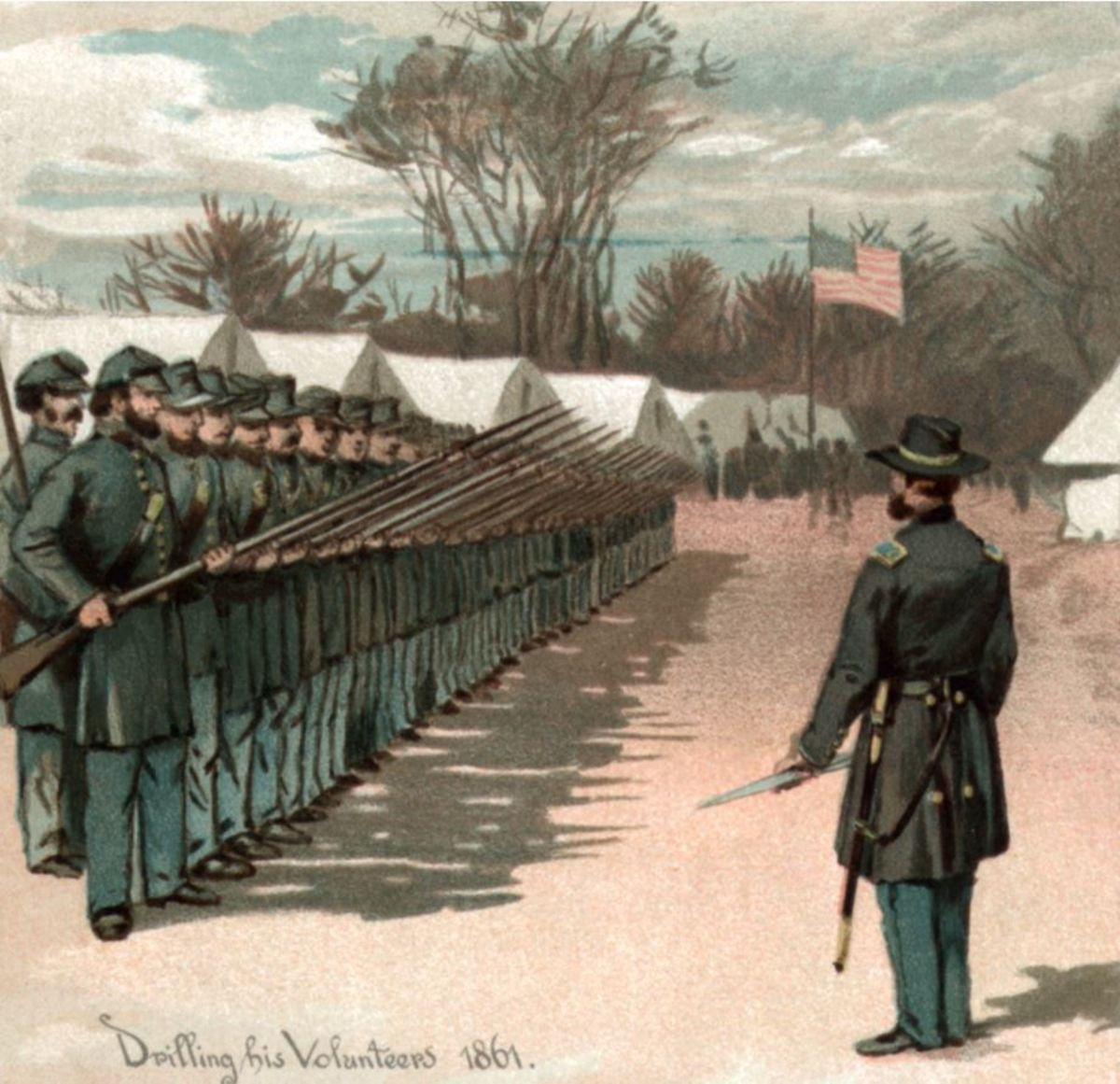 """Grant Drilling his Volunteers, 1861."" Detail from an 1885 engraving, ""Grant from West Point to Appomattox."""
