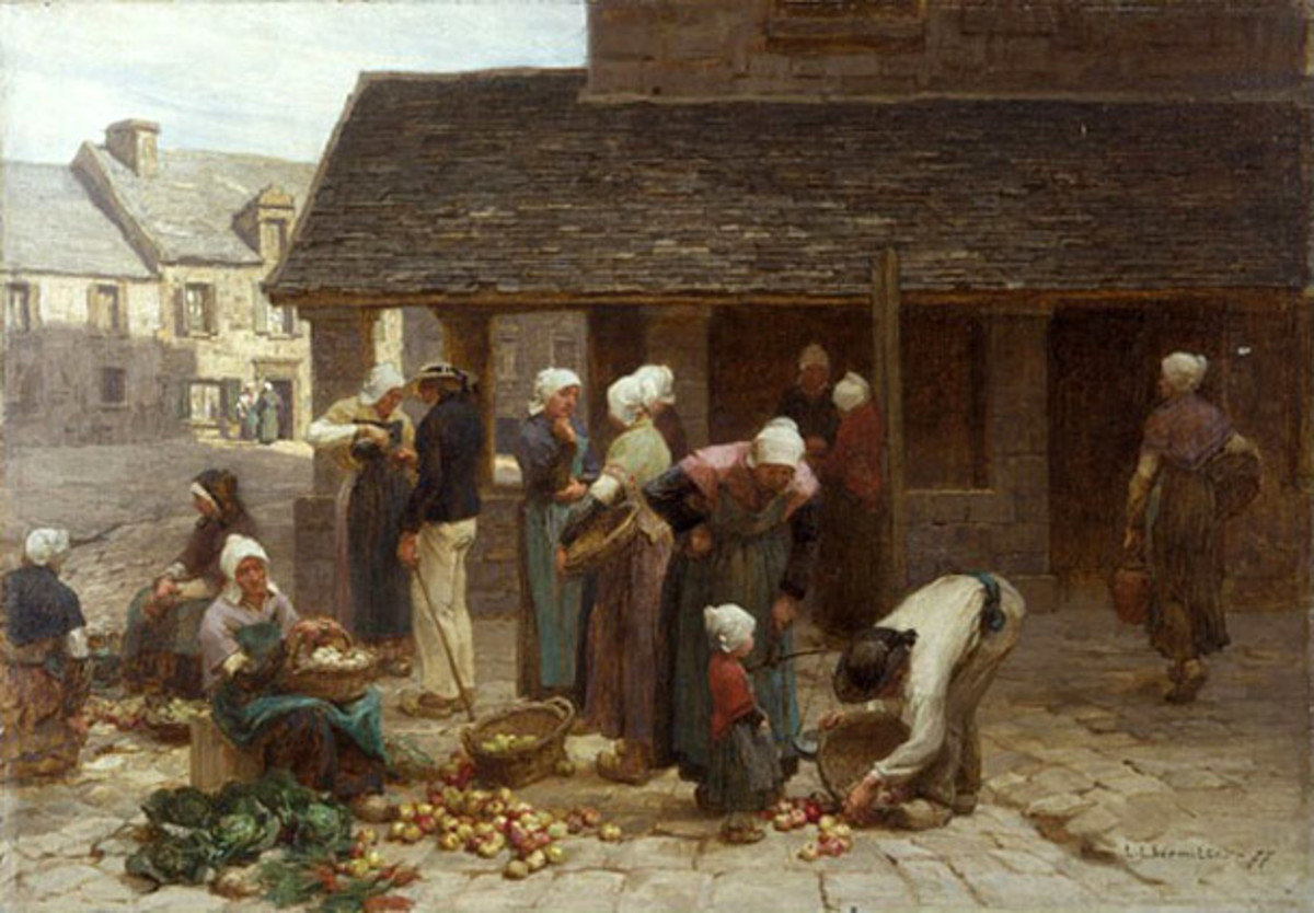 The Market Place of Ploudalmezeau in Brittany, France.  Painting by Leon-Augustin Lhermitte (1877)
