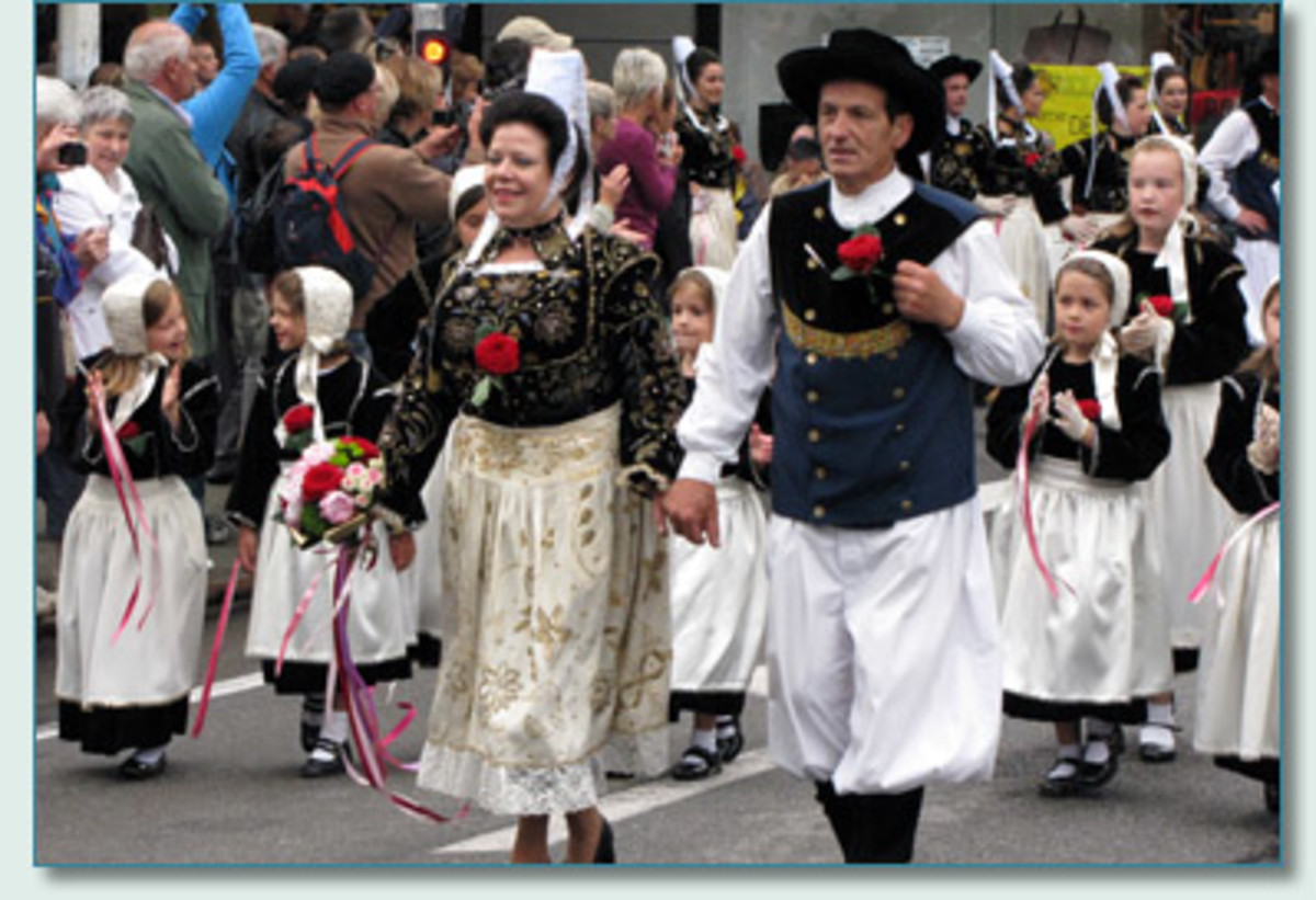Traditional Breton Festival de Cornouaille in Brittany, France.