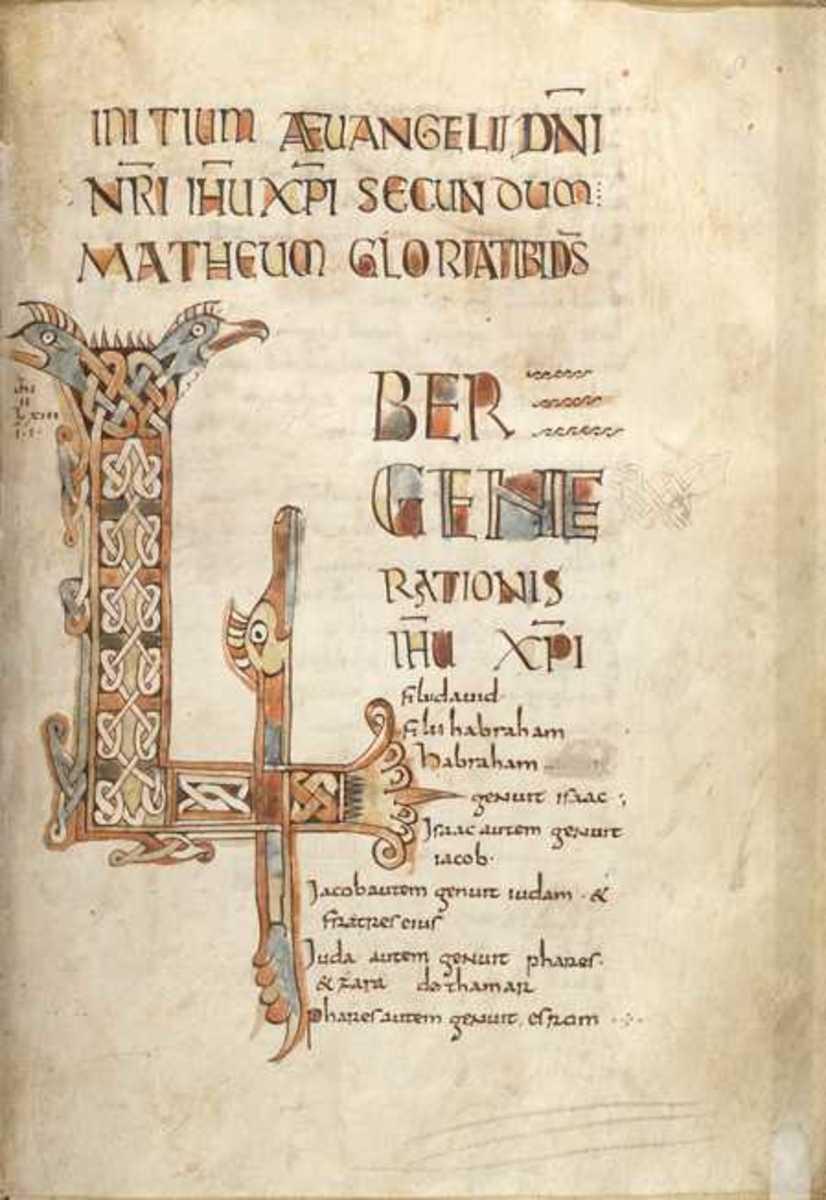 The Breton Gospel manuscript.  Folio 8.  Incepit page to Gospel of Matthew.