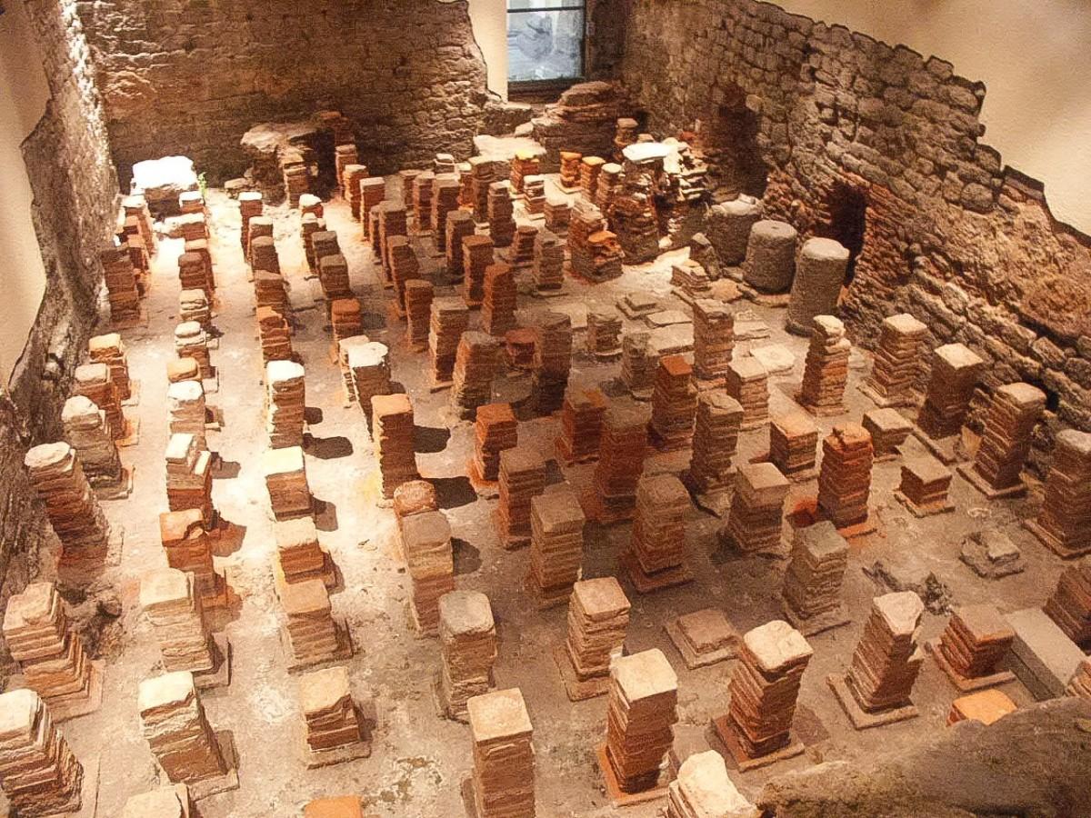 A hypocaust at the Roman Baths
