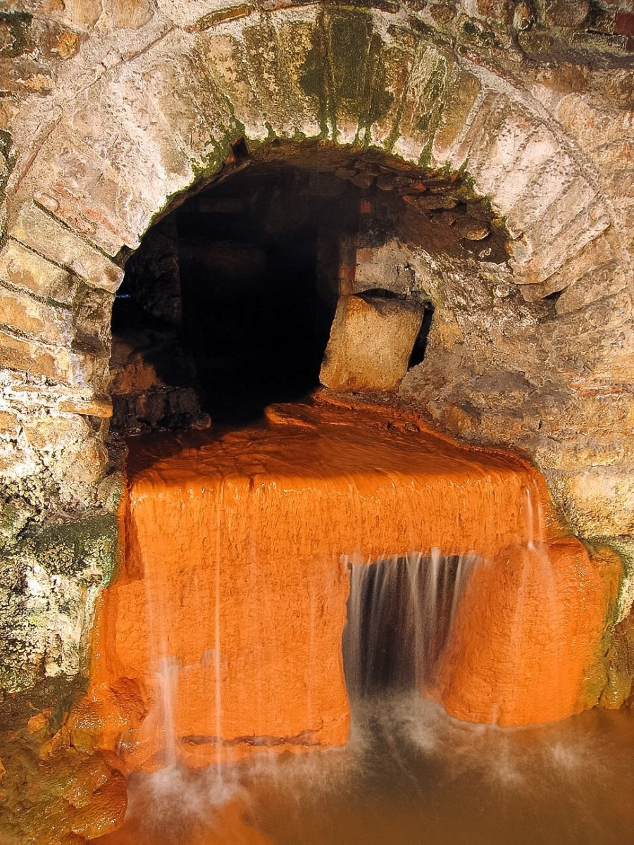 The spring overflow from the bath complex; the bricks are the original ones laid down by the Romans