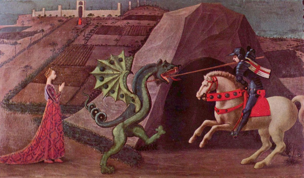 A classic image of a damsel in distress being rescued by a knight who slays the dragon.