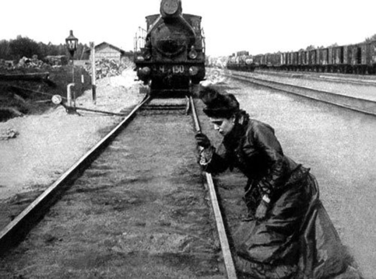 "Scene from the film ""Anna Karenina"", 1914. Anna is about to end her life."