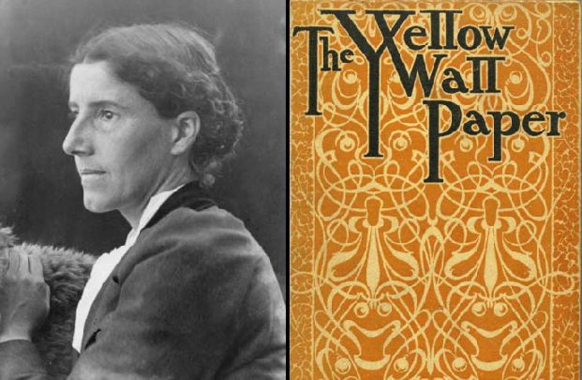 "Left: Charlotte Perkins Gilman     Right: ""The Yellow Wallpaper"" cover"