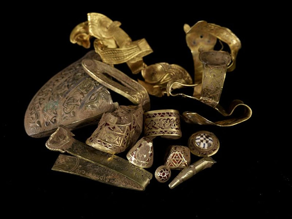 A few items from the Staffordshire Hoard of gold.