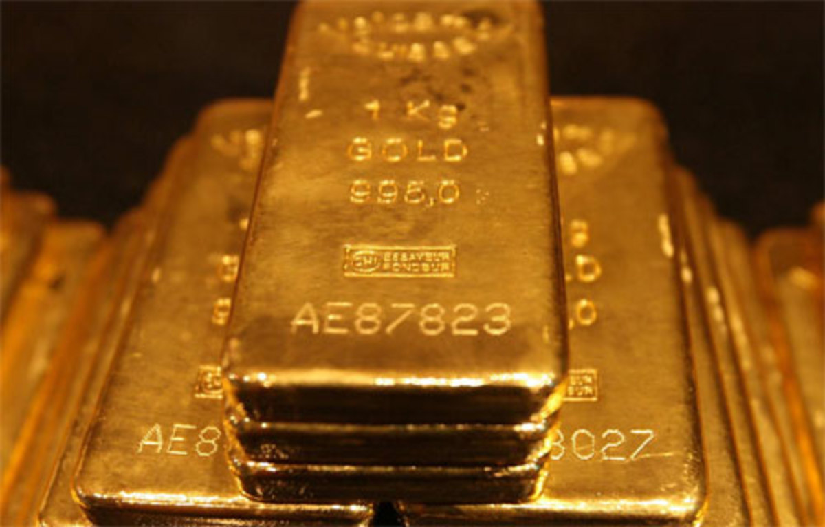 Once it has been purified, gold is made into bars called ingots and carefully guarded. It is a very heavy metal. Each of the gold bars shown above weighs 1 kilogram, which is about 2.2 pounds.