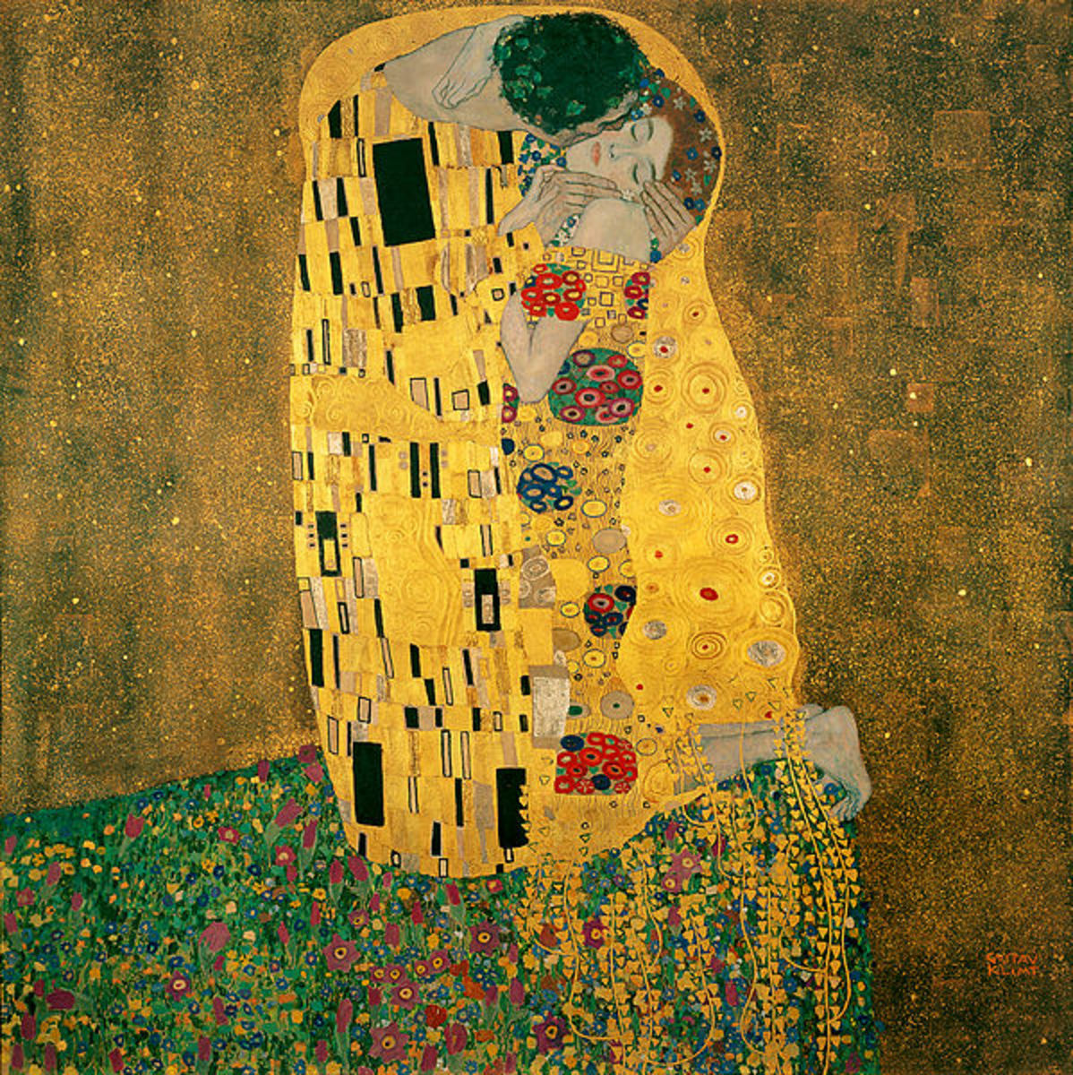 "Gustav Klimt's most famous painting, ""The Kiss,"" incorporates the use of gold leaf in its design. It is currently on display in the Belvedere Art Gallery in Austria."