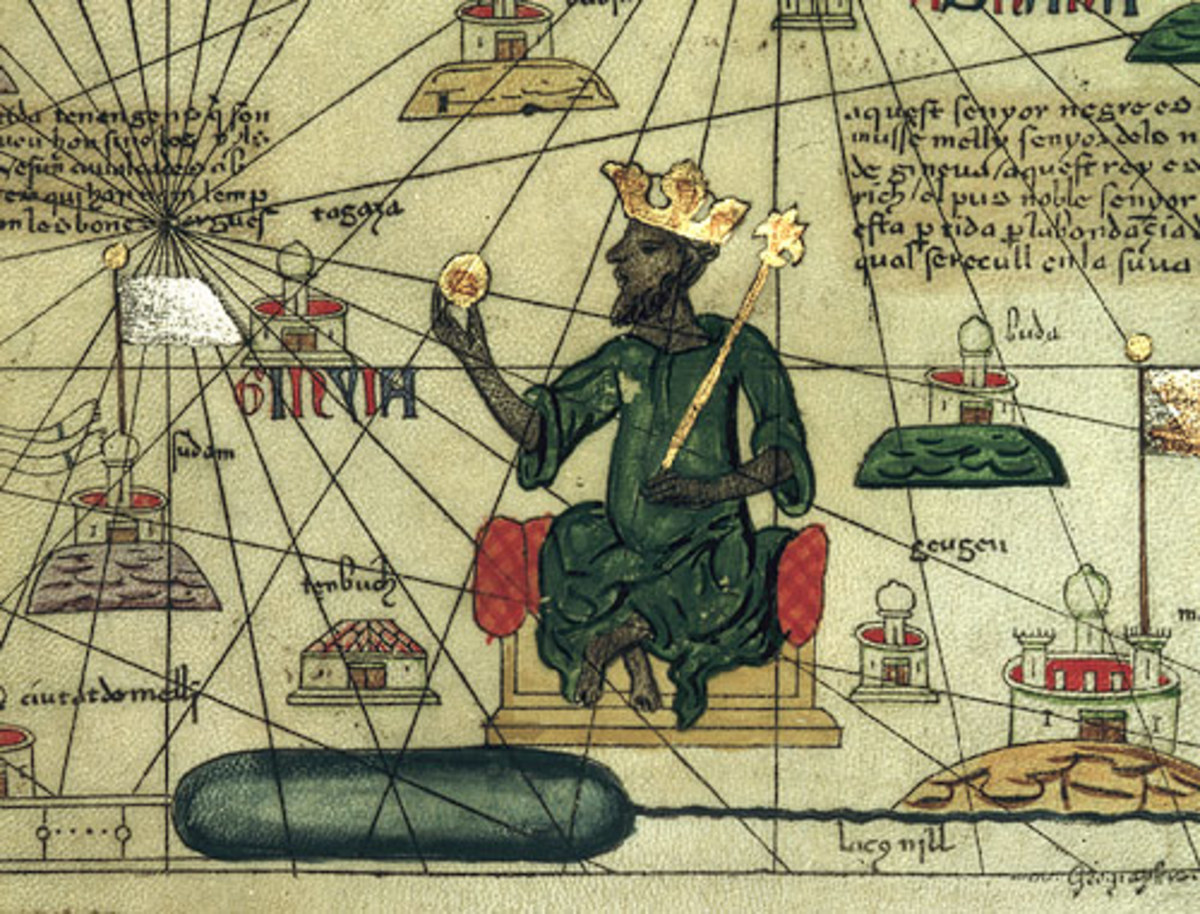 Mansa Musa, the Malian Emperor, holding an ingot of gold in his hand.
