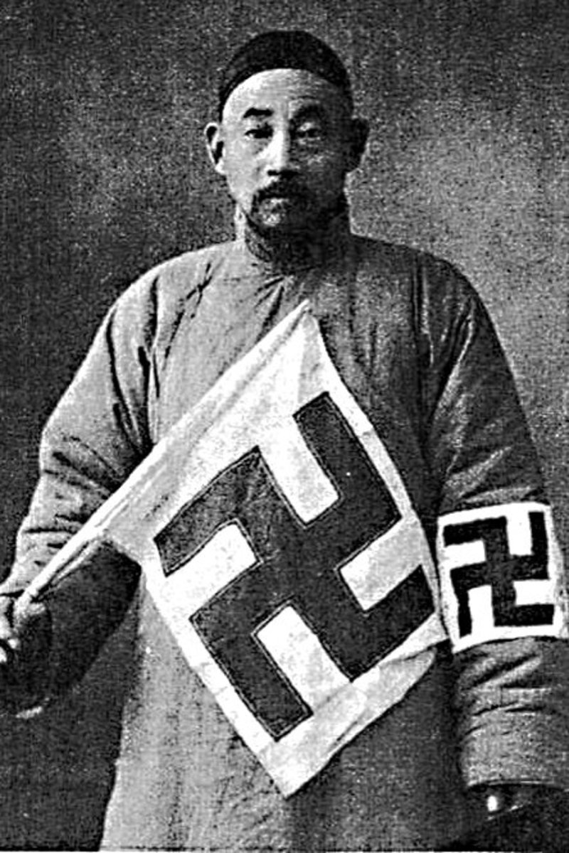 How good people may be tainted by Western misconception. This man, photographed in 1937, was a member of the Red Swastika Society, a philanthropic Chinese organisation which was similar to the Red Cross