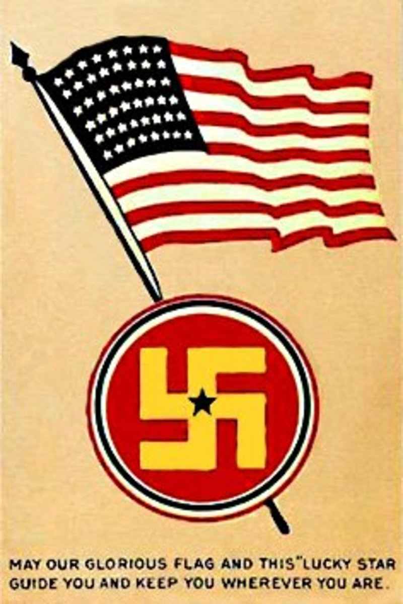 The 45th Infantry Division of the U.S Army used a yellow swastika on a red background as a shoulder patch in World War One, (depicted here on a postcard). The logo was changed in the 1930s