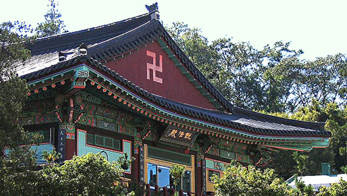 A left pointing swastika which can be seen on a temple in South Korea - this swastika symbol is revered by hundreds of millions of Buddhists throughout the world