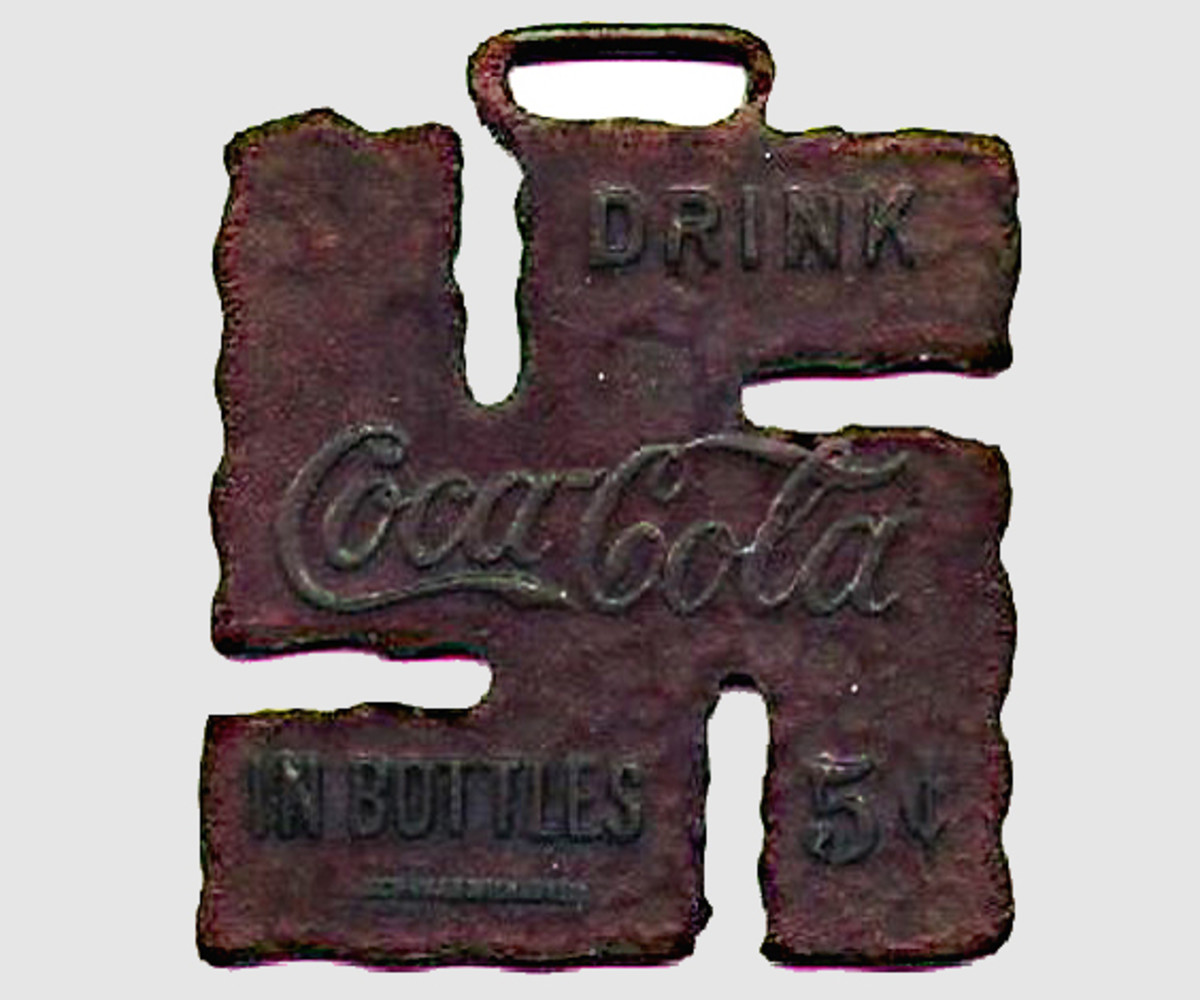 In 1925, one of the world's most famous companies employed the swastika in a piece of good luck merchandise. Coca-Cola made this little 'fob' for a watch chain