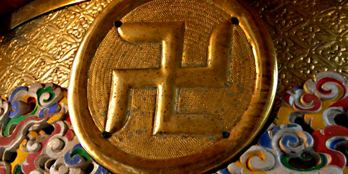 A swastika decoration in the Sensoji Temple, Tokyo, Japan