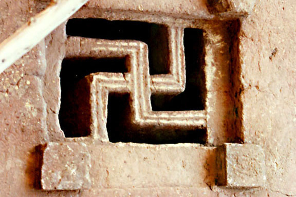 A swastika window frame in an 12th-13th century rock-cut chuirch in the town of Lalibela, Ethiopia