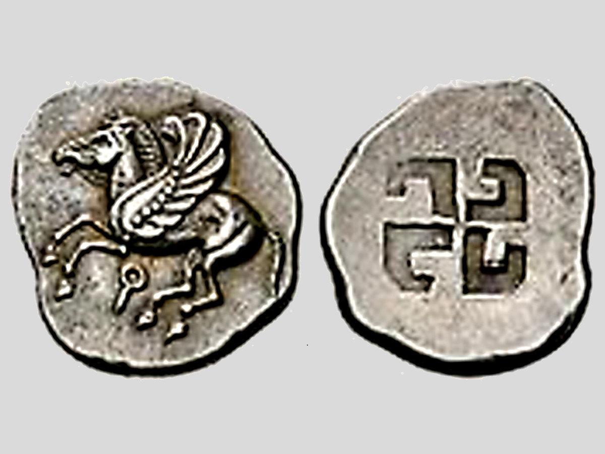 The two faces of a 6th century BCE Corinthian coin from Greece