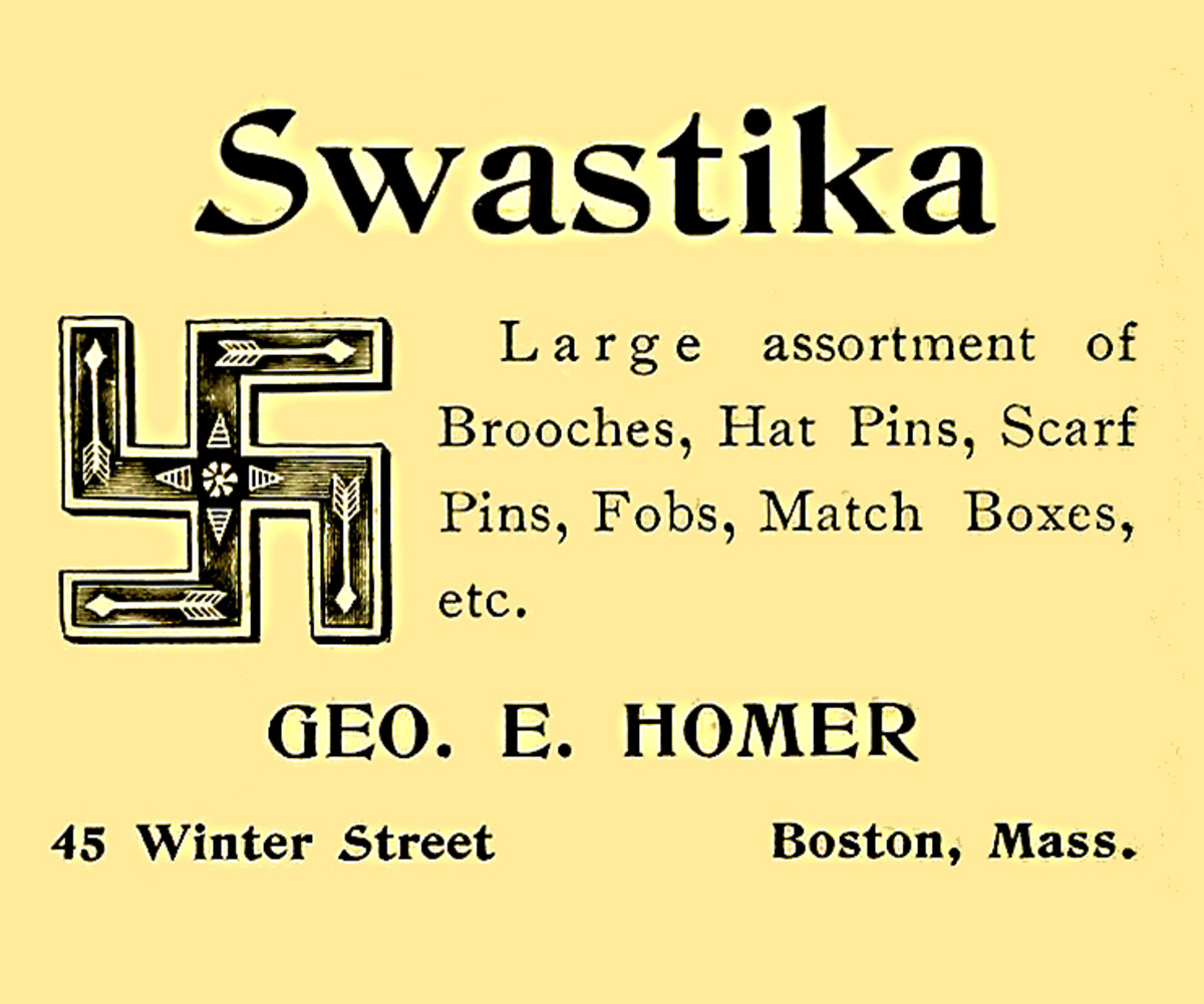A 1907 advertisement for brooches and other items with the swastika design. Unthinkable today, but in the early 20th century, this was an acceptable and innocent symbol