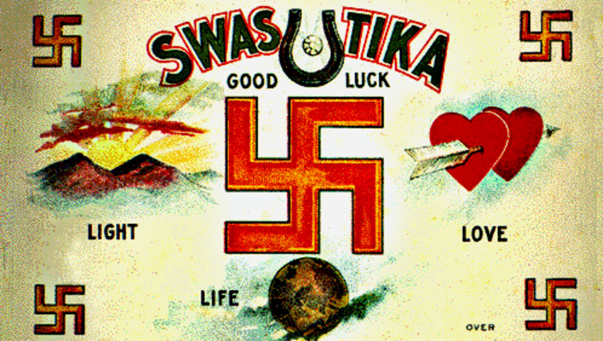 A warm-hearted post-card featuring swastikas in 1907. Just 38 years later such a card would have been unthinkable in the west as the symbol of the swastika had been wrecked. How quickly can good be turned to evil? Can it ever be turned back?