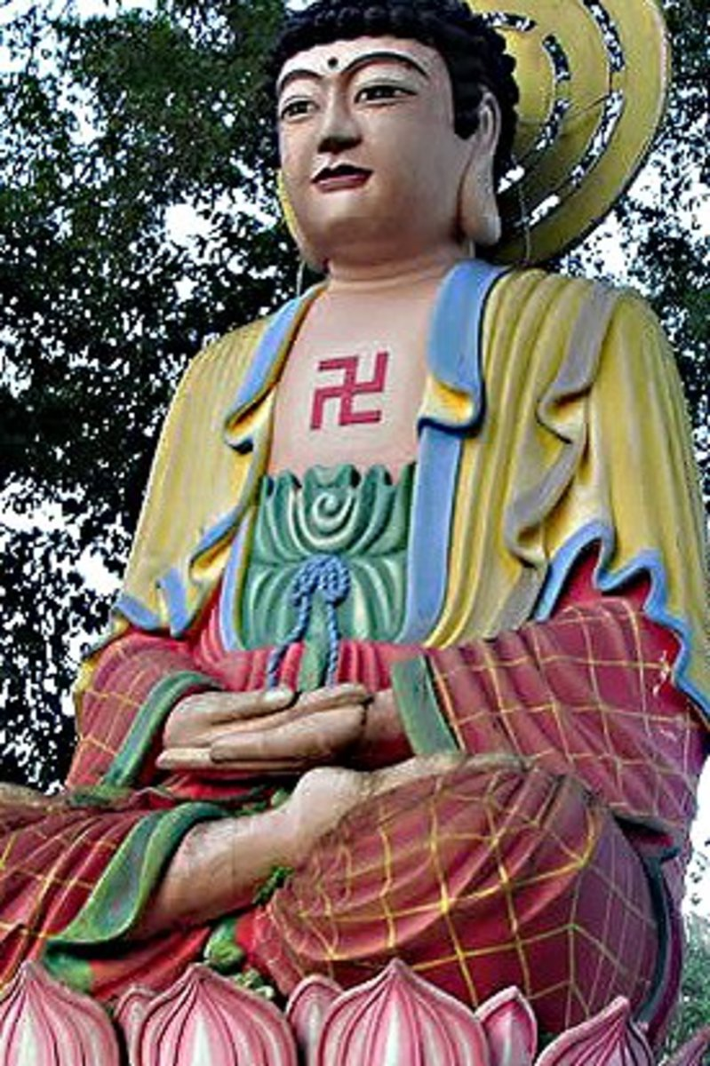 Statues of Buddha often show him adorned with a swastika on the chest