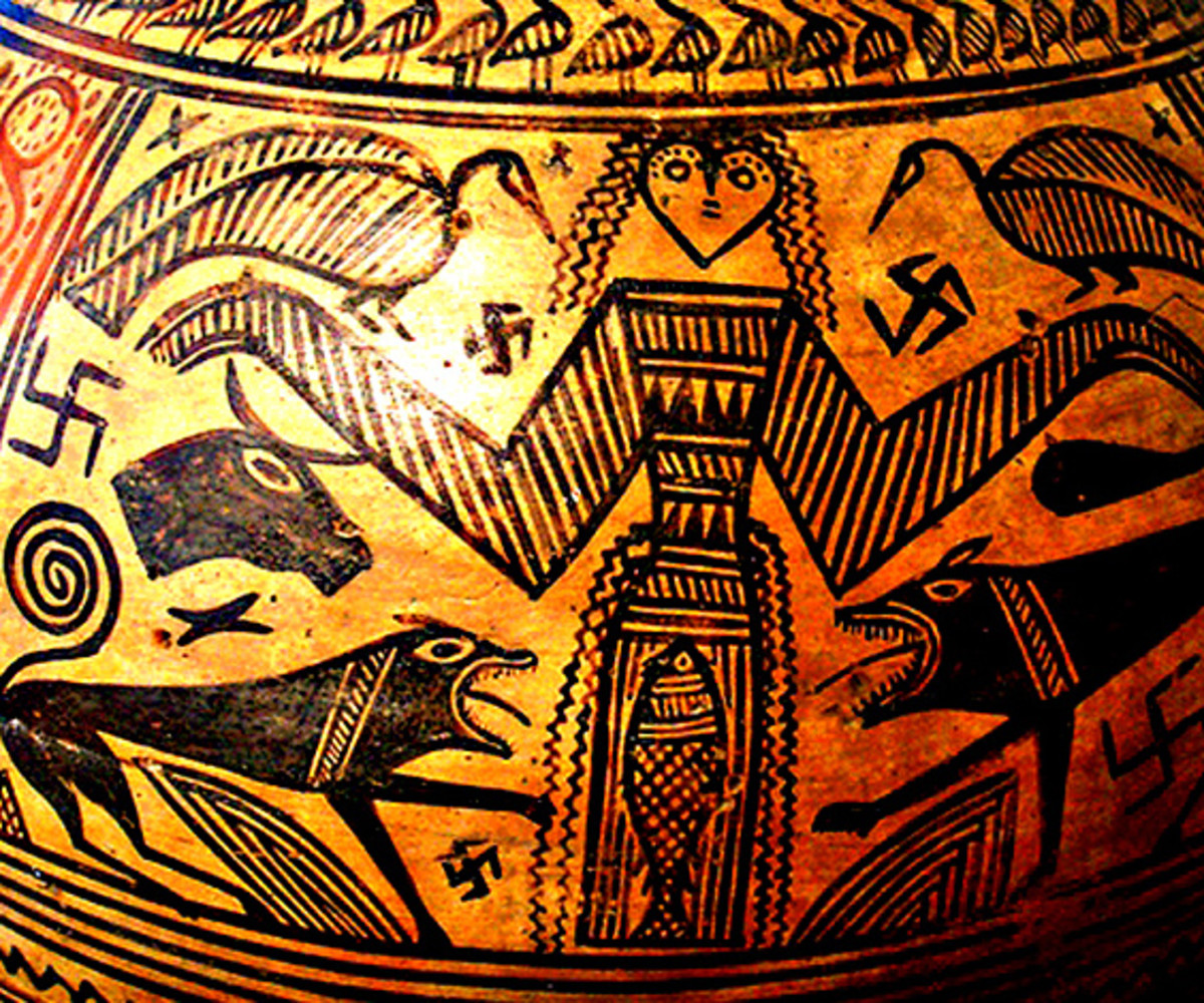 Swastikas have a very different symbolism on this 2600 year old Greek vase depicting the Goddess Artemis