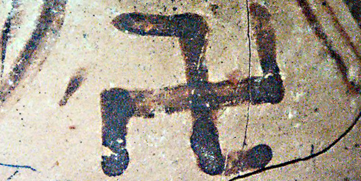 Detail of a swastika on Minoan pottery. The Minoan civilisation on Crete is one of the most ancient of all European cultures and this symbol dates to about 2,000 BC