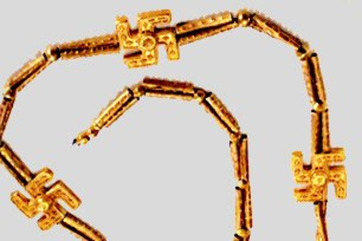 A Persian gold necklace decorated with swastikas, dated to c1000 BCE