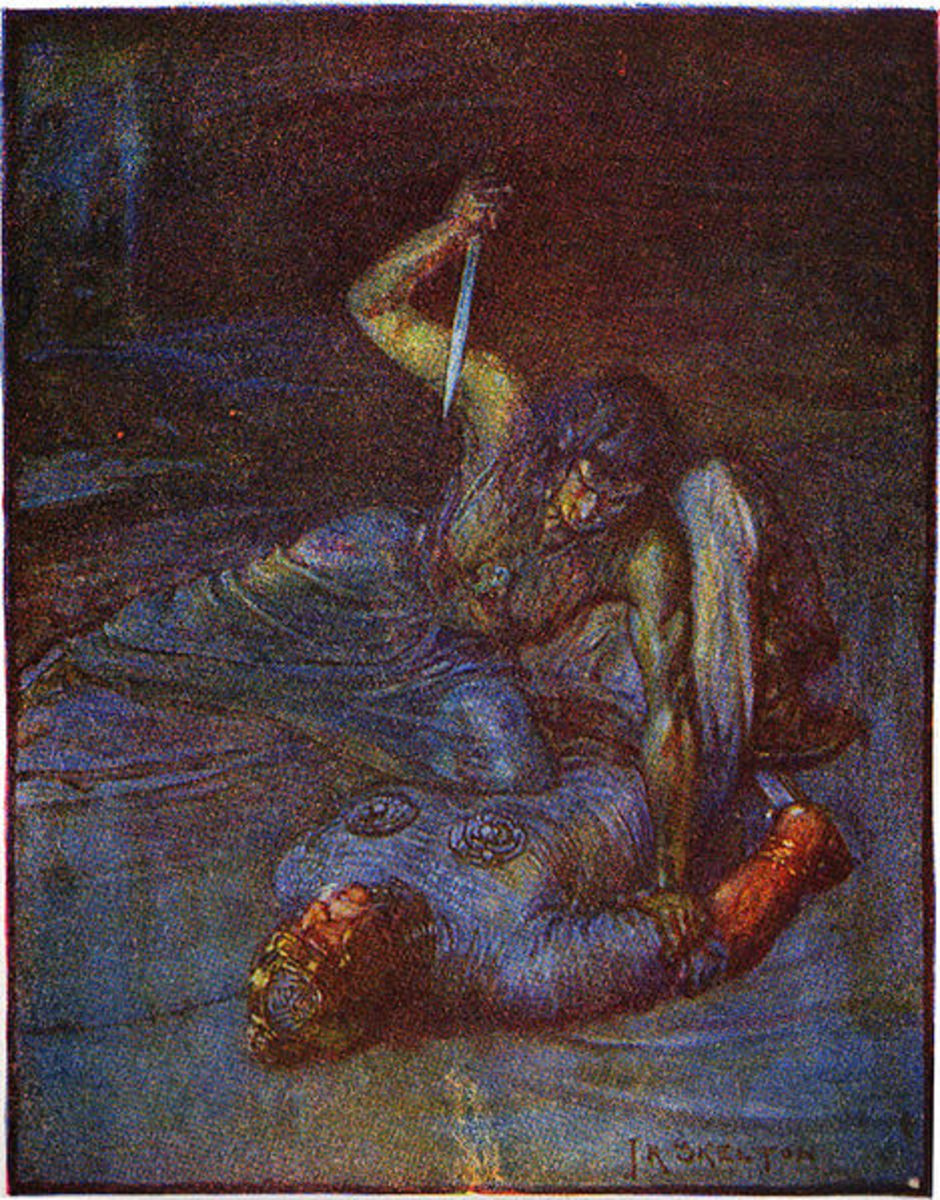 Illustration of Grendel's mother by J.R. Skelton.