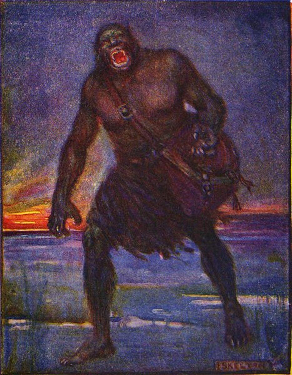 Illustration of Grendel by J.R. Skelton.