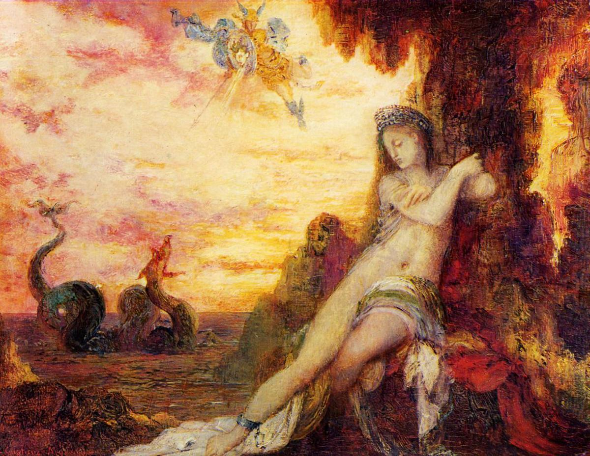 Perseus comes to the rescue of Andromeda.