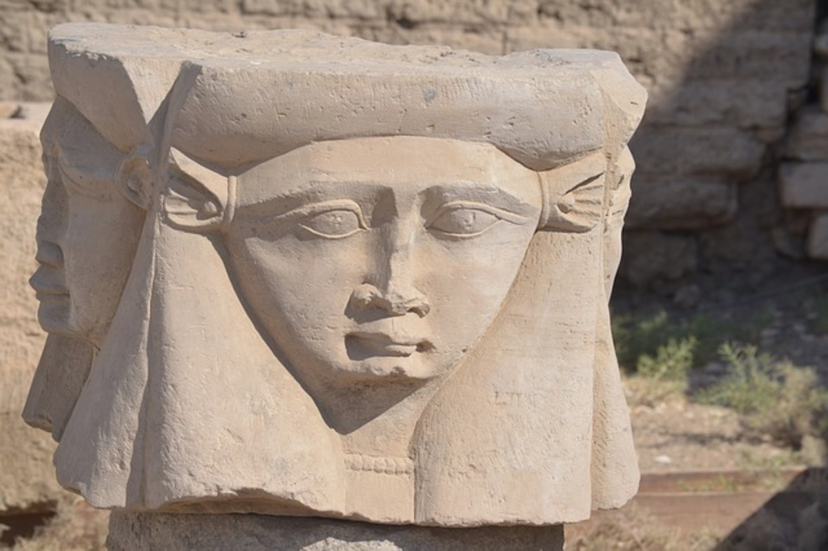 The ancient Egyptians built most of their cities along the Nile. This statute shows the goddess, Hathor, the deity who personified joy, love, and motherhood.  Worshiped by all sections of society, she was one of the most popular and important deities