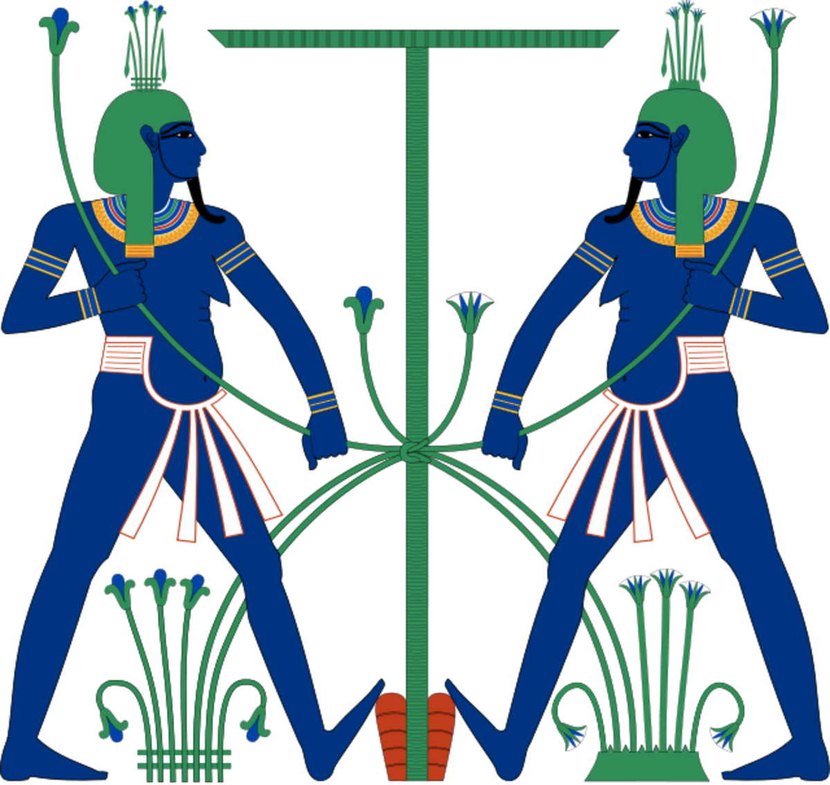 In the ancient Egyptian religion, Hapi was the god of the flooding of the Nile, which took place each year. The image shows Hopi represented as two genies, symbolically tying together upper and lower Egypt.