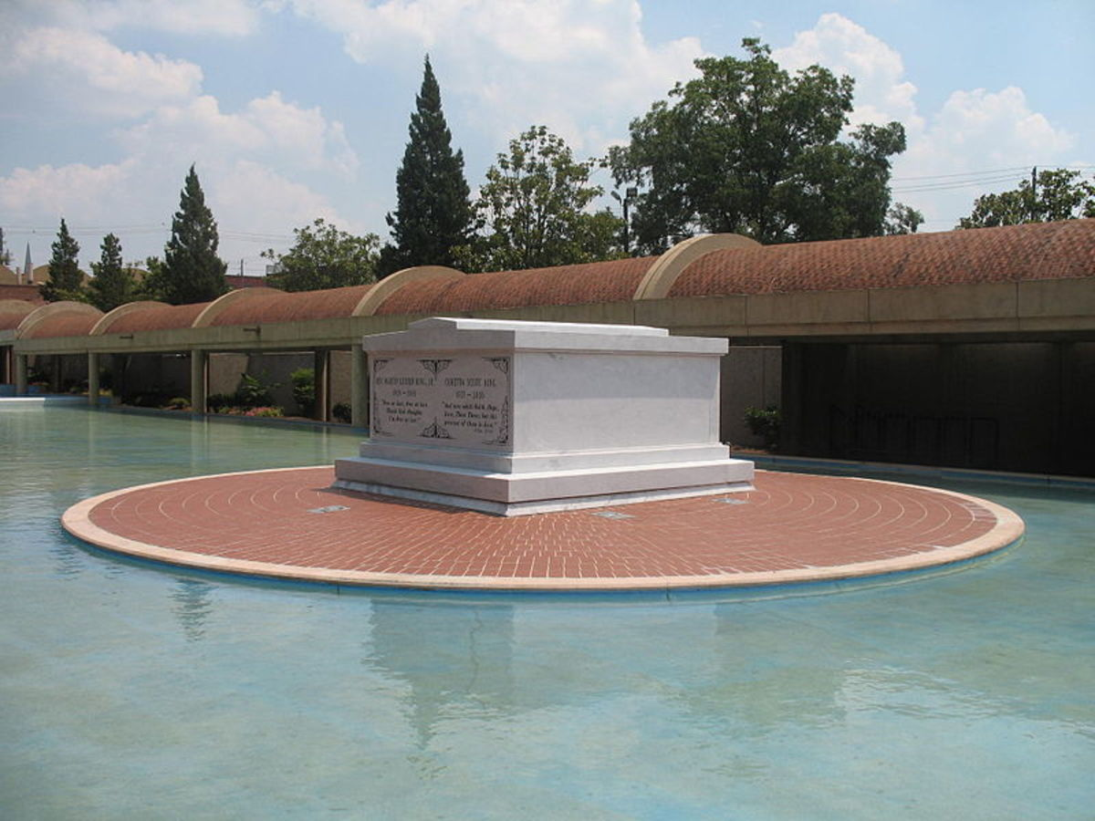 Martin Luther King and Coretta Scott King's tomb, Atlanta, Georgia.  Hundreds of roads around the USA have been named after King in homage to his life and work.
