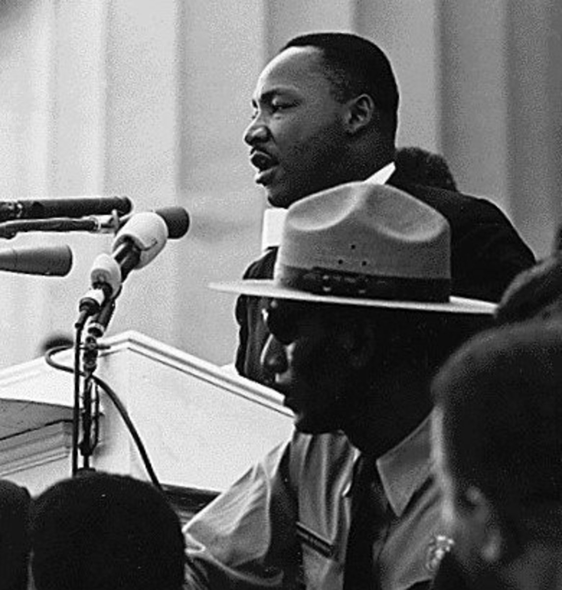 "MLK making his famous ""I have a dream"" speech.  The speech took place in 1963 was delivered to a quarter of a million people in Washington DC.  It is considered by many to be one of the finest and most inspirational pieces of public oration ever."
