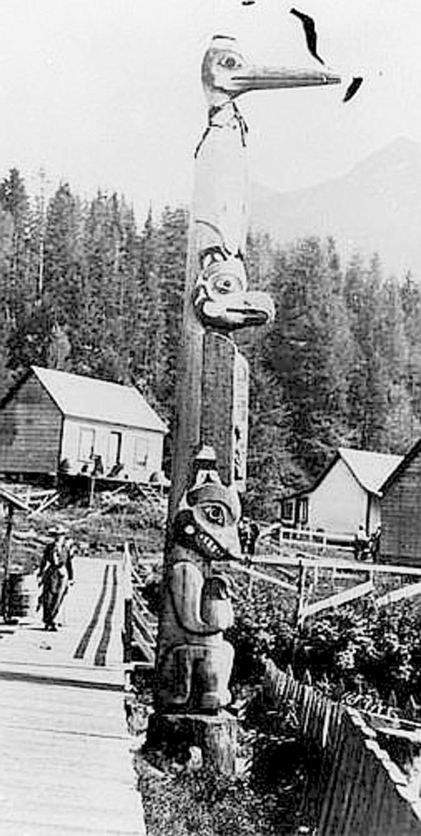 Located at Ketchikan, Alaska. The Tlingit intermarried with the Kwakiutl bands of the Pacific Northwest and some Yukon bands, bringing additional family crests and power animals with them.