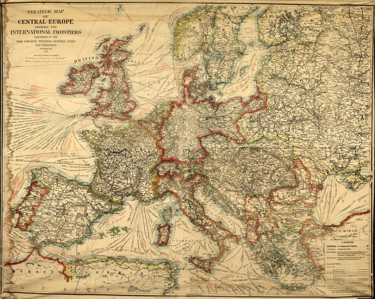 A strategic map of central Europe from 1917.