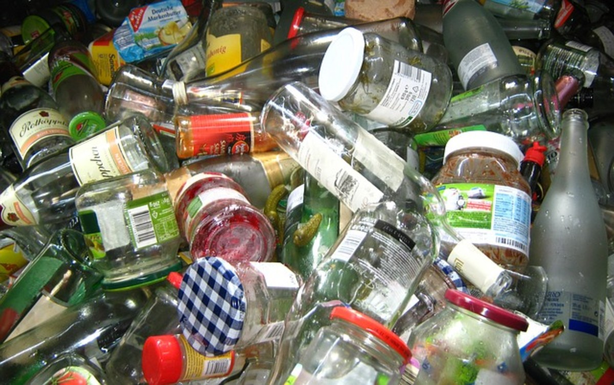 All bottles and glass products can be recycled and the glass used again.  Plastic bottles and containers should also be collected for recycling.  Rinse them out and keep them in a box.
