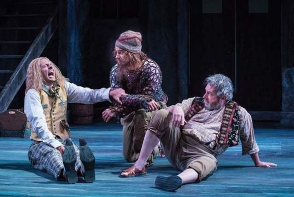 Quinn Mattfeld (left) as Sir Andrew Aguecheek, Aaron Galligan-Stierle as Feste, and Roderick Peeples as Sir Toby Belch in the Utah Shakespeare Festival's 2014 production of Twelfth Night. Utah Shakespeare Festival 2014.