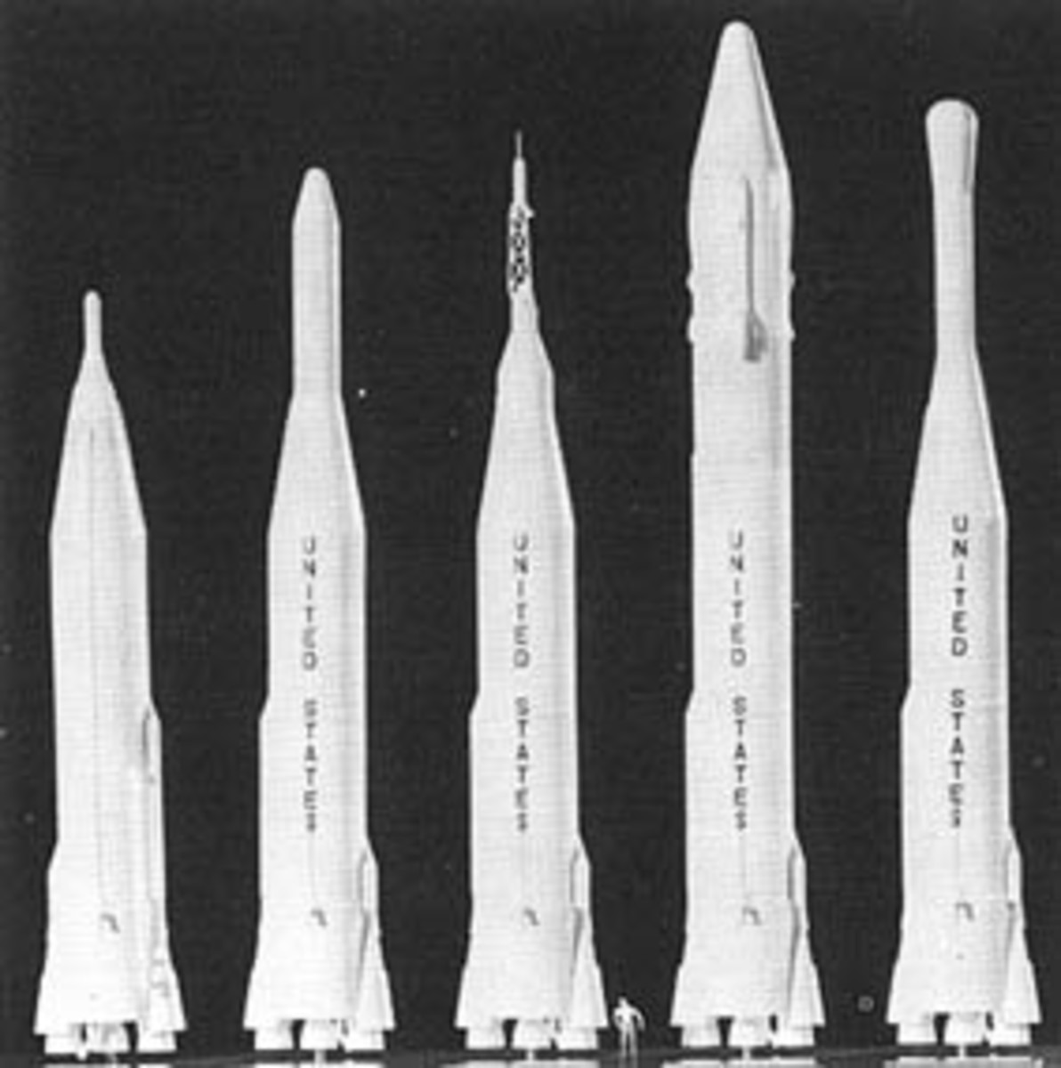 Various Atlas rocket configurations. The second from the left was the Atlas-Agena configuration used on Mariner 2.