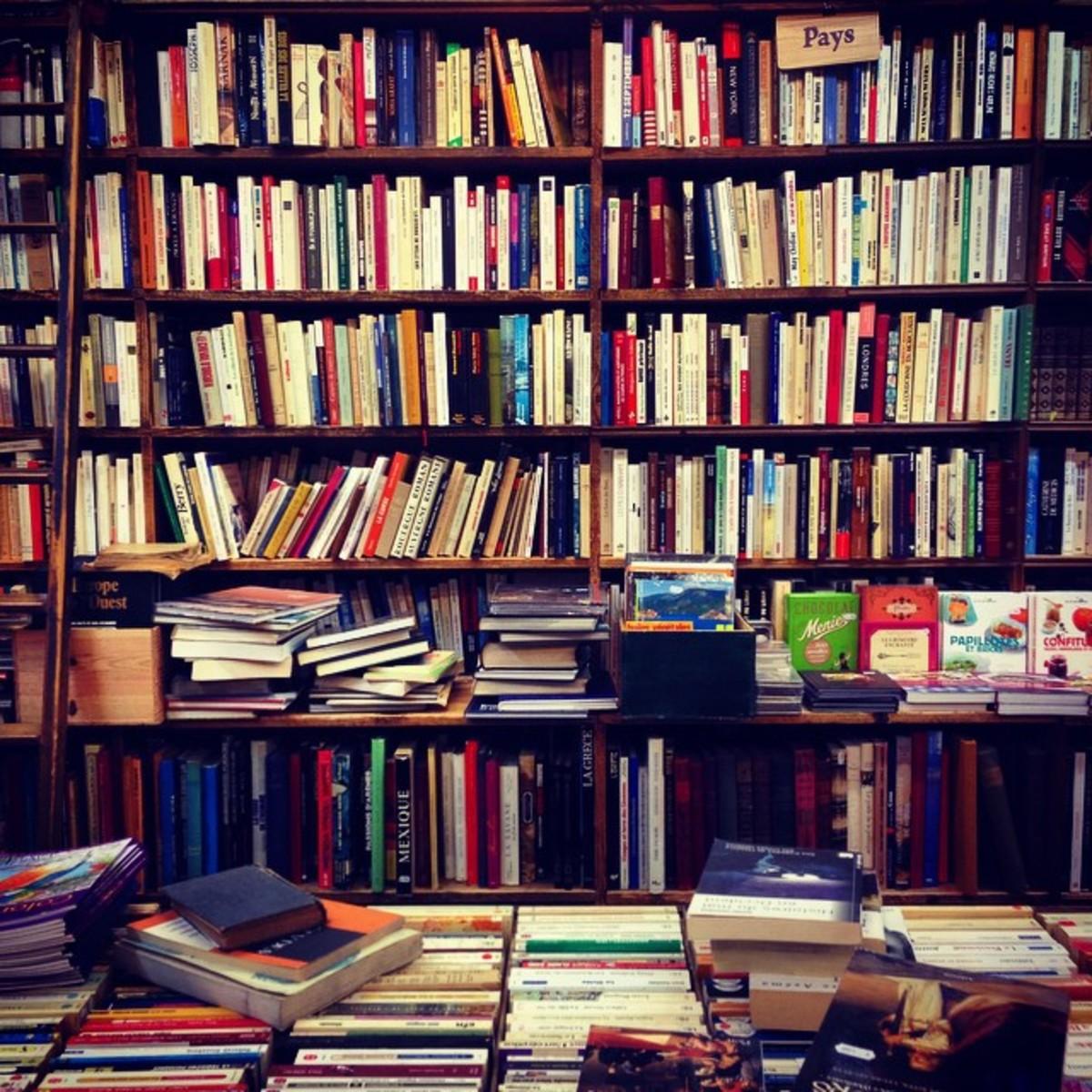 Shelf of text books