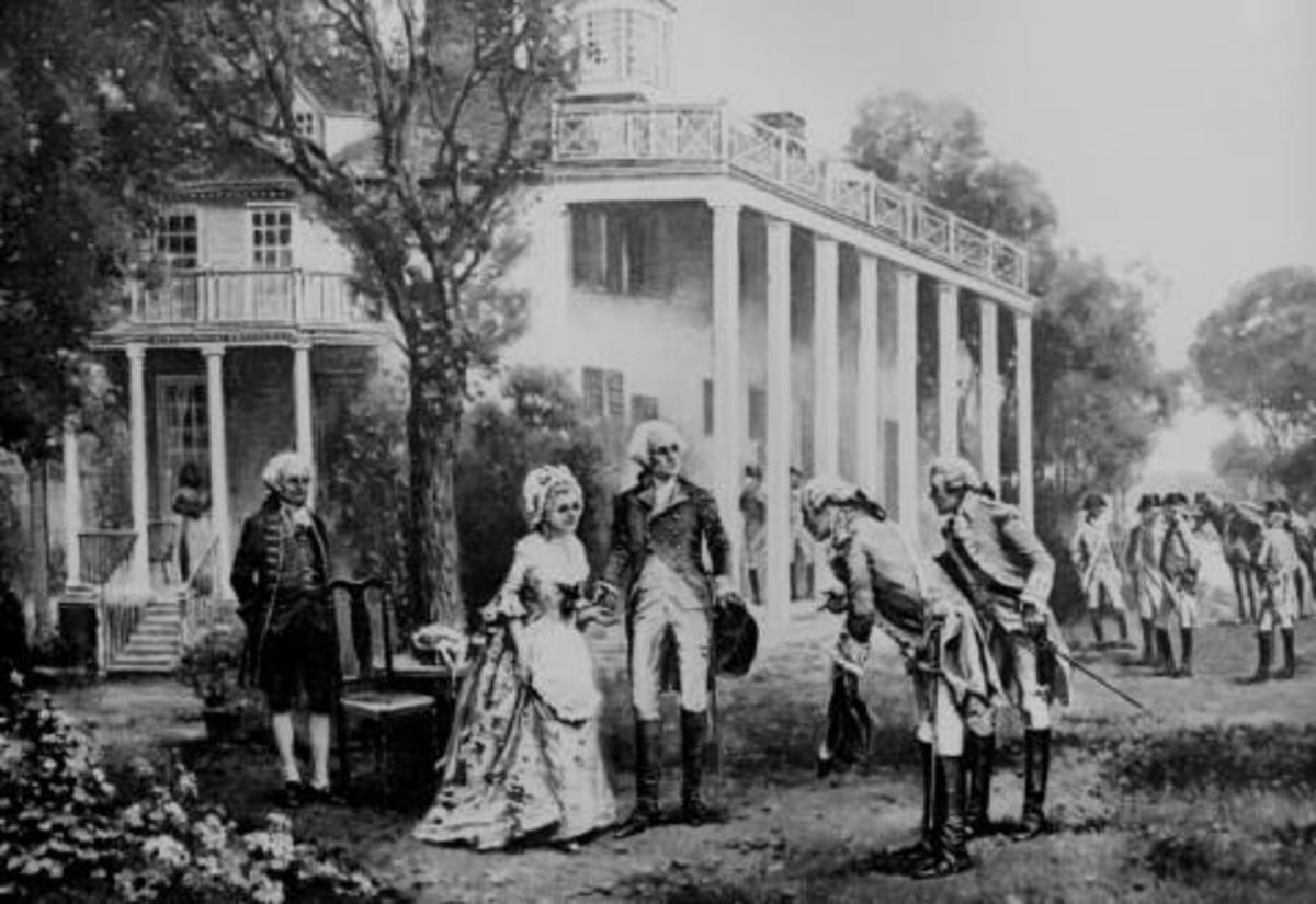George Washington receiving French generals at Mount Vernon. U.S. Archives image
