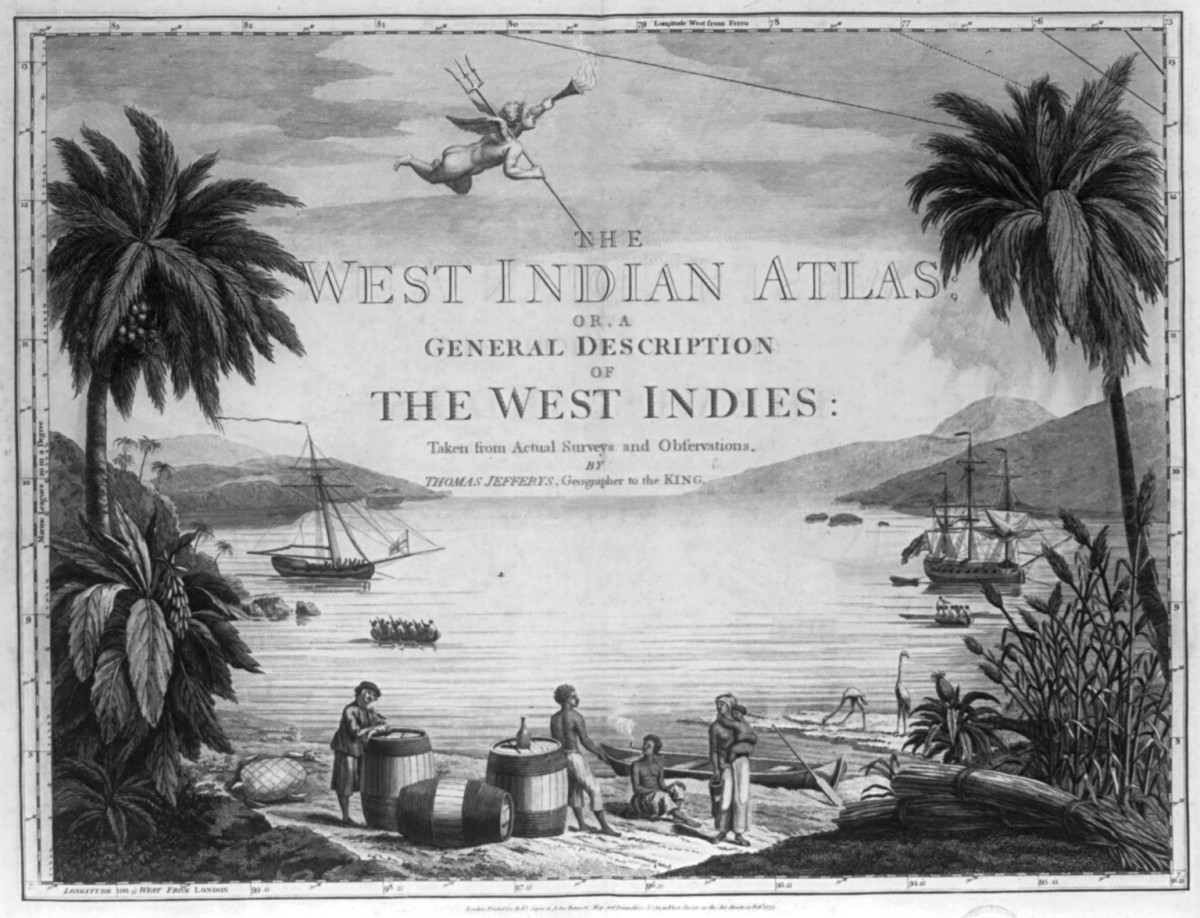 Title page from The West Indian Atlas. A scene in the West Indies showing Natives on the beach with a British sailor and three large casks, and two ships in the harbor.