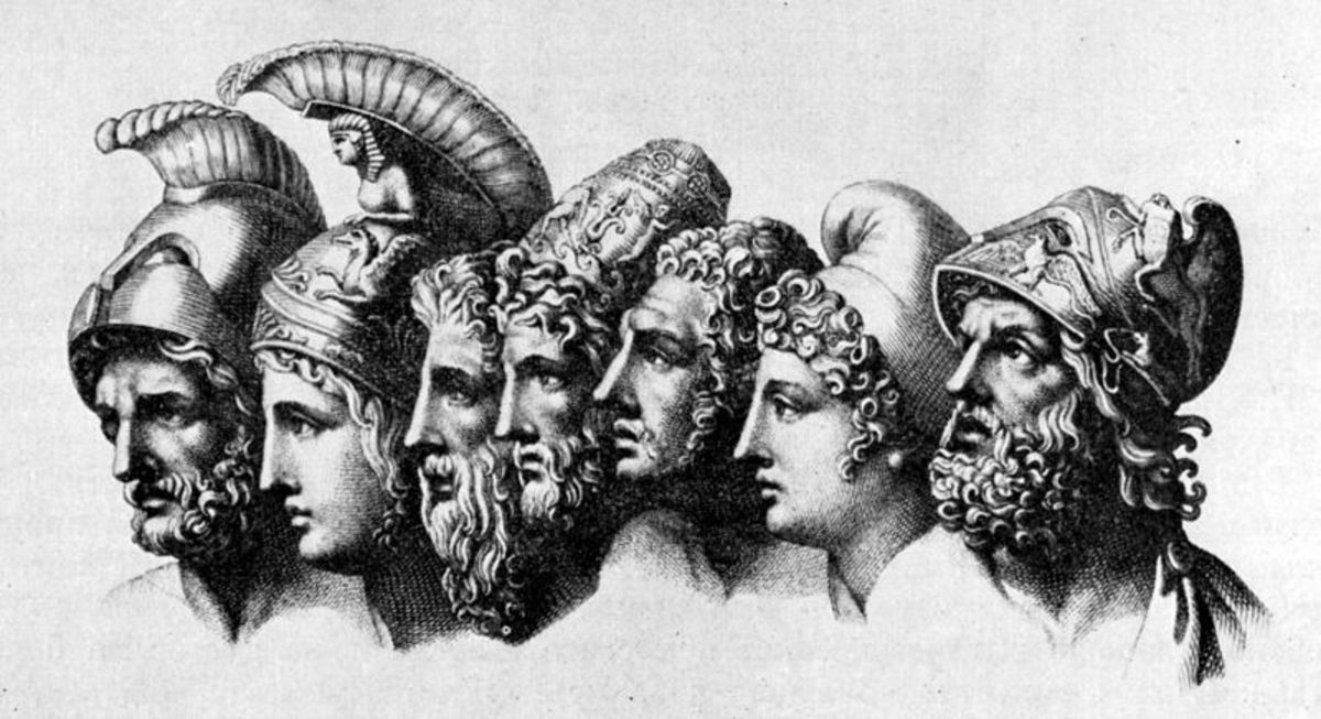 4th head - Odysseus; 5th head - Diomedes; 7th head - Menelaus