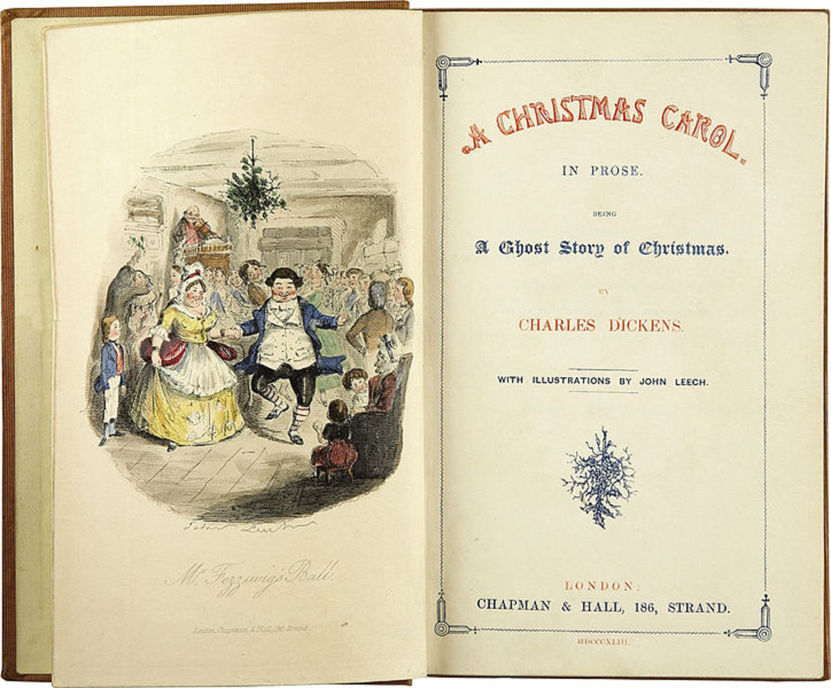 The title page of A Christmas Carol illustrated by John Leech