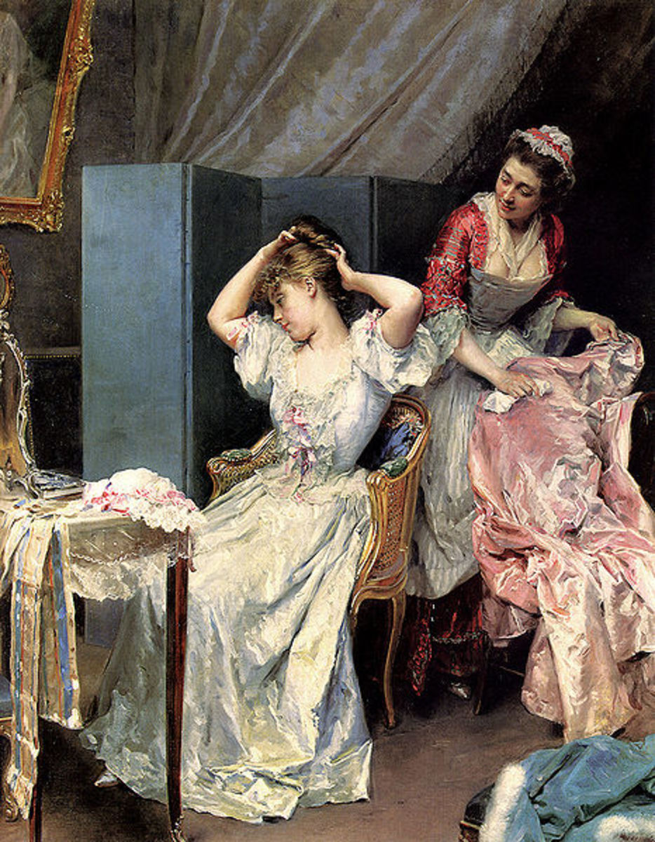 Painting of a lady and her maid circa 1890