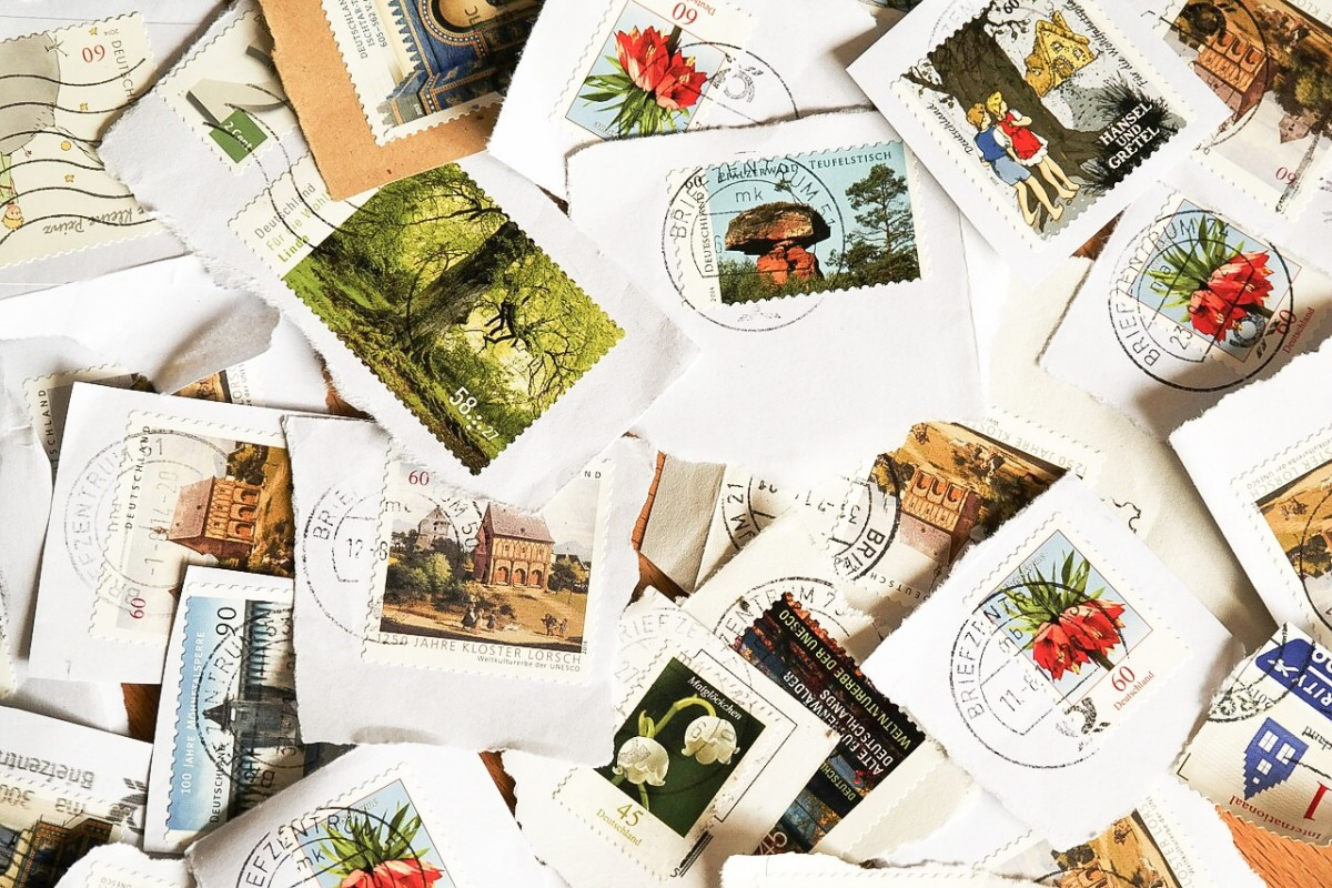 Postage stamps are often miniature works of art. The borrowers liked to put them on their walls.