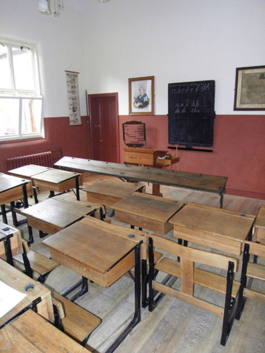 Replica of a classroom at the end of the Victorian era
