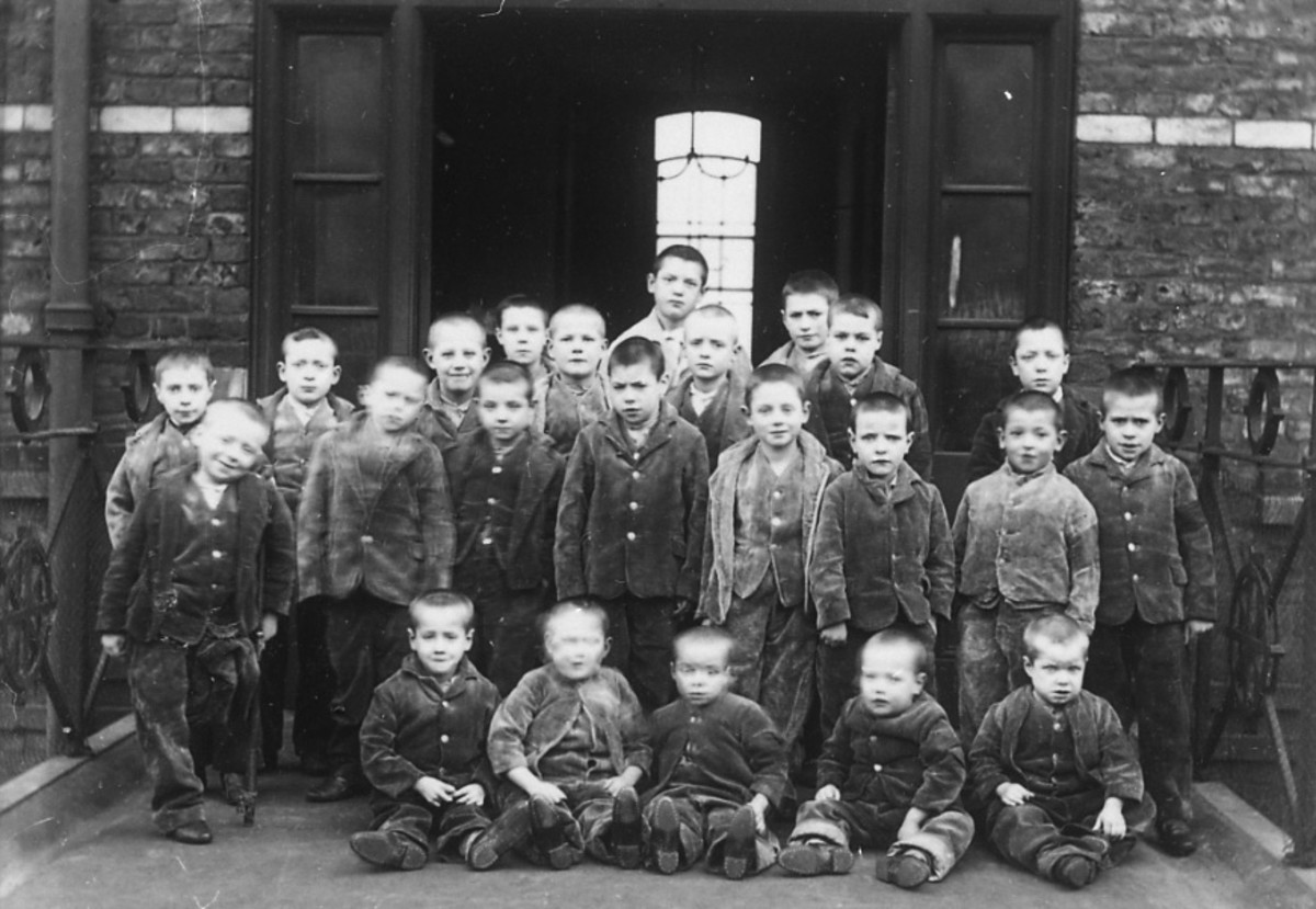 Group of pauper children at the workhouse would be trained in domestic service or a trade.