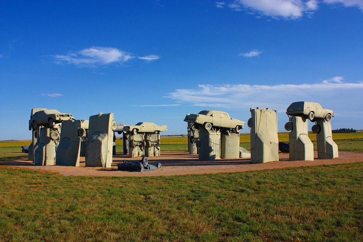 Located near the city of Alliance, Nebraska, United States, Carhenge is a replica of England's Stonehenge.  Rather than being built with giant standing stones, however, Carhenge is built from vintage American automobiles that have been painted grey.