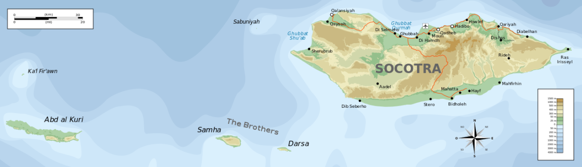 There are four islands in the Socotra Archipelago. Socotra Island is by far the biggest land mass in the group.