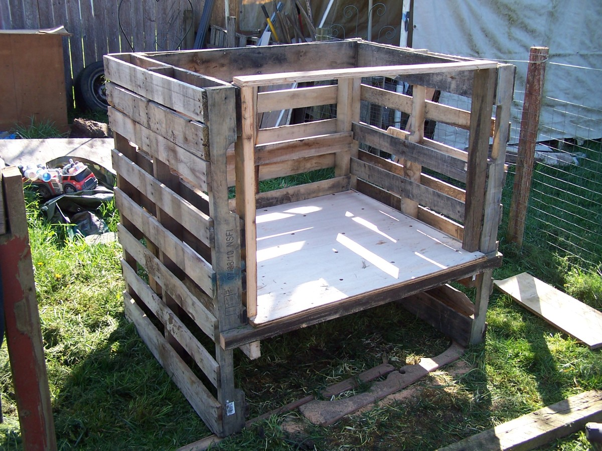 Constructing the coop out of pallets and plywood